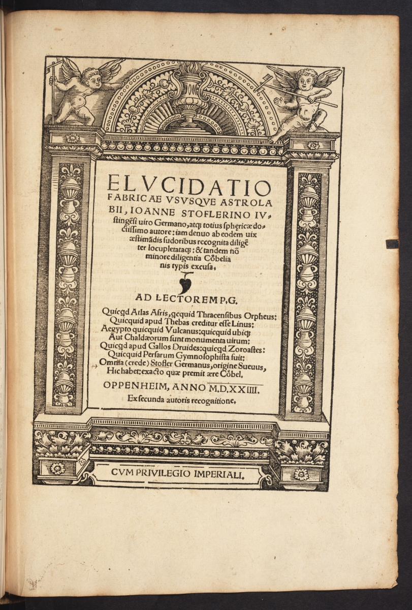 Title page of 1524 edition of Johann Stoeffler's Elucidatio fabricae vsusque astrolabii.