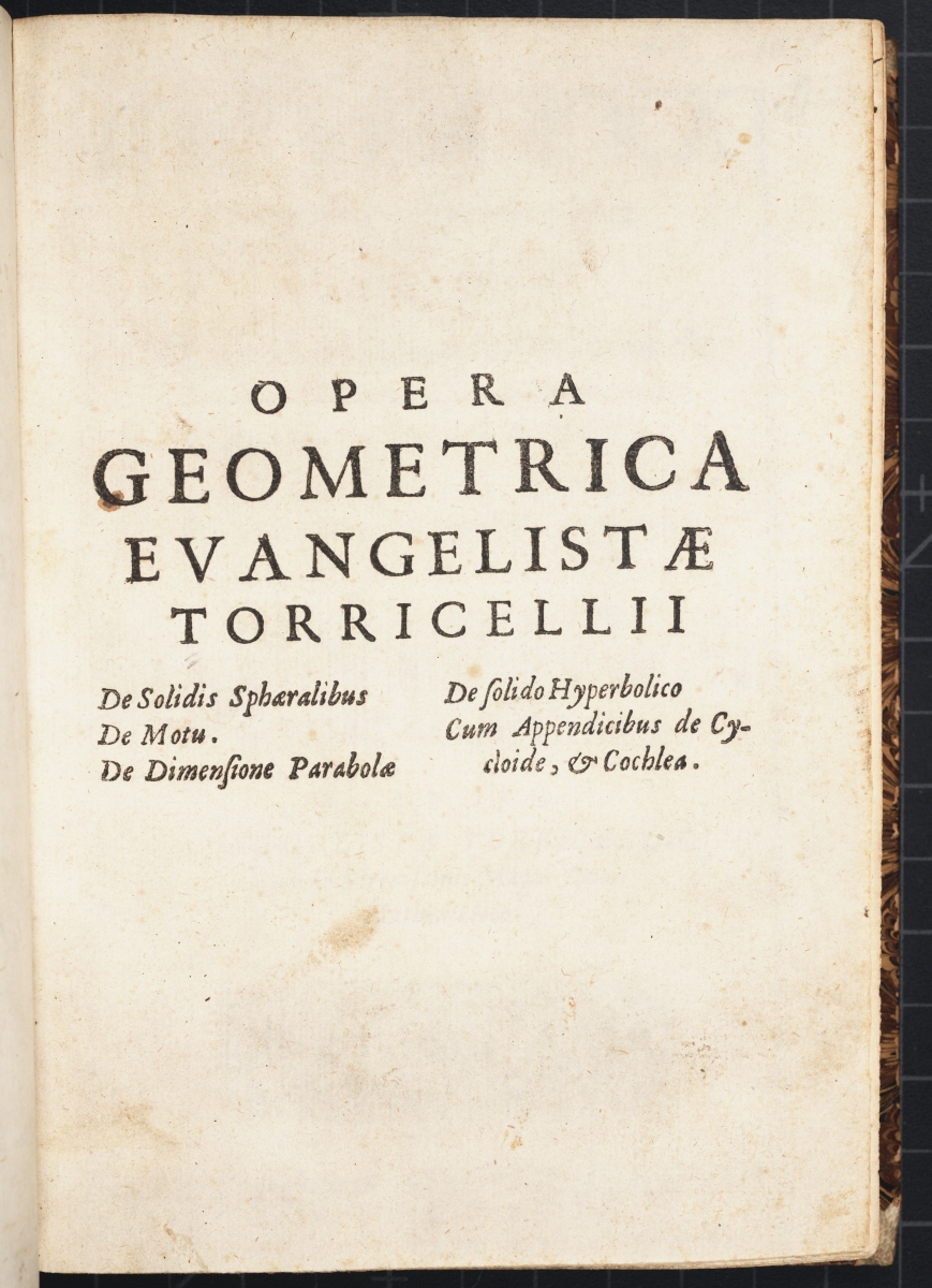 Title page from Torricelli's 1644 Opera Geometrica.