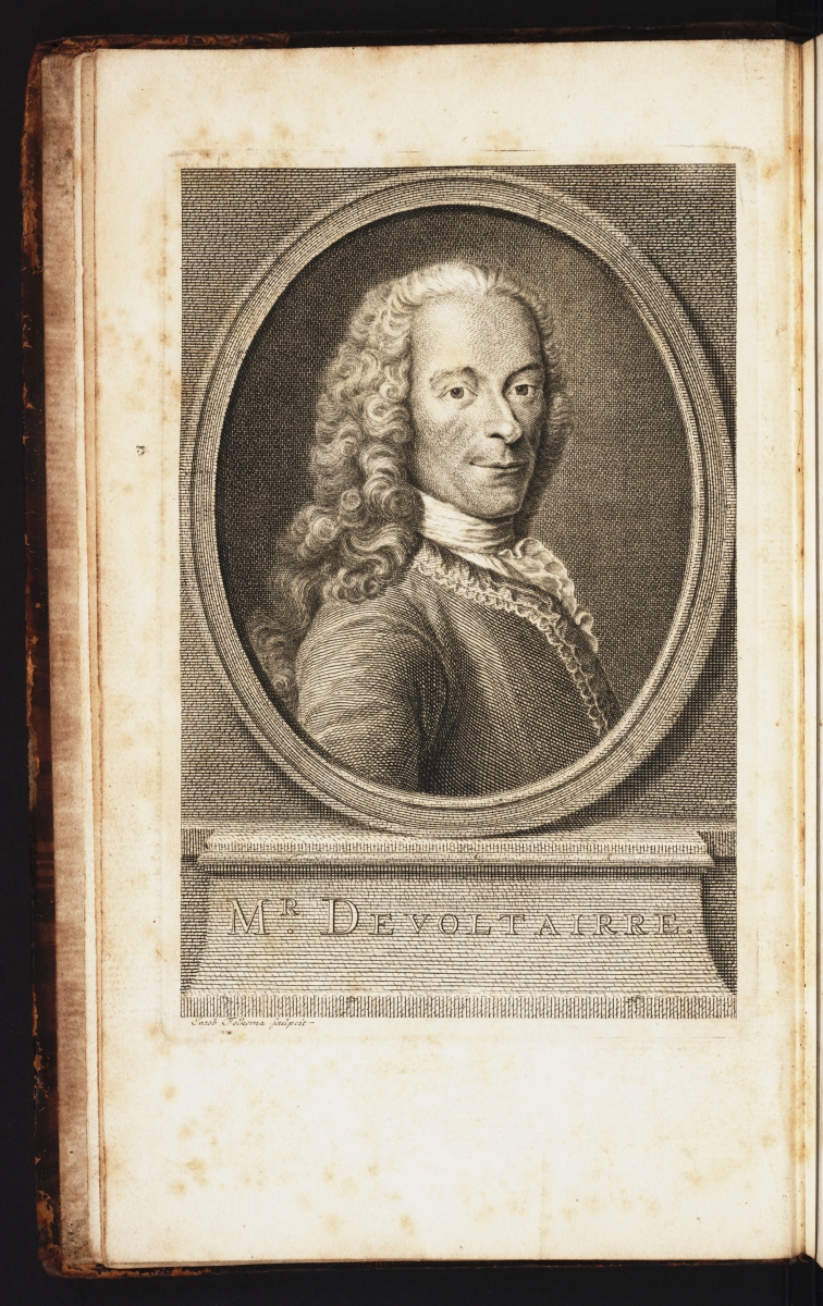 First frontispiece from Voltaire's 1738 Élémens de la philosophie de Neuton