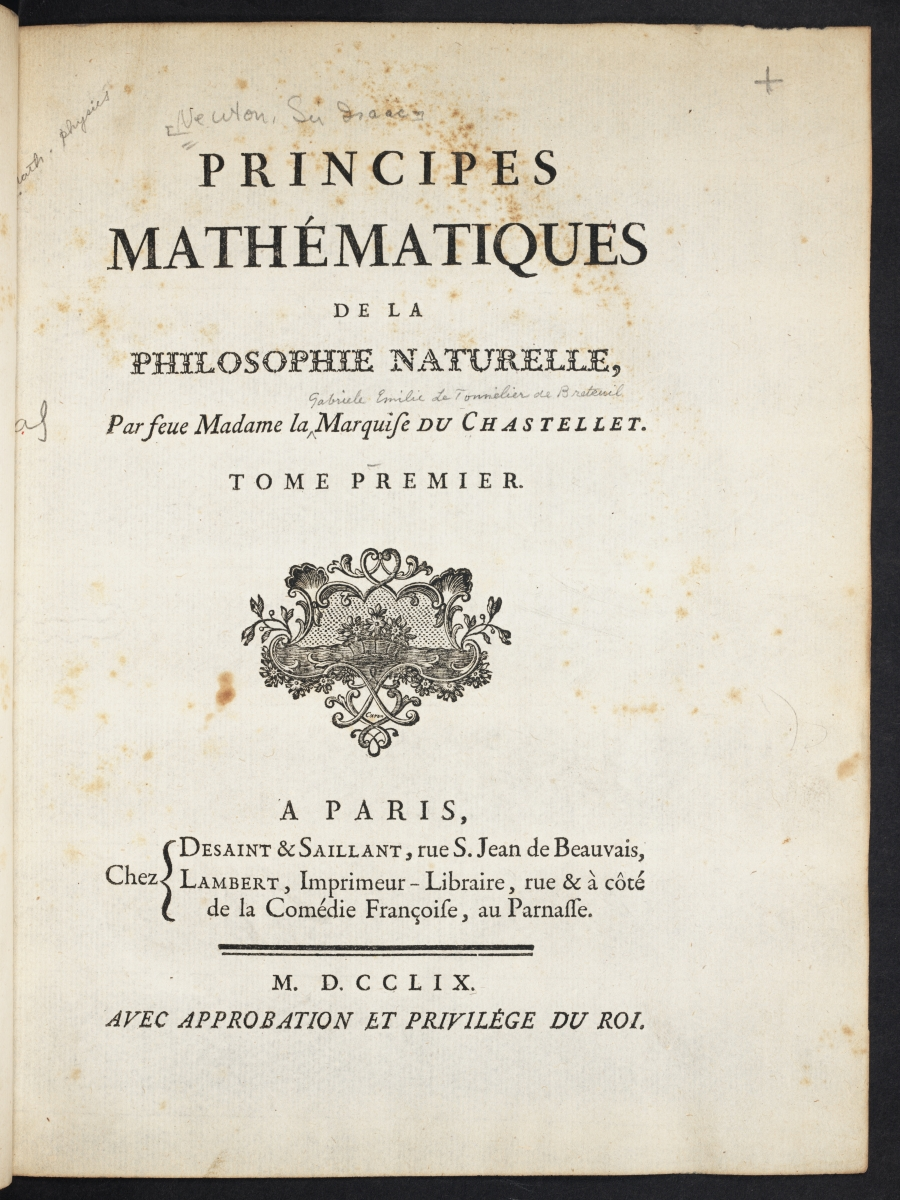 Title page of Emilie du Chatelet's 1749 translation of Newton's Principia.
