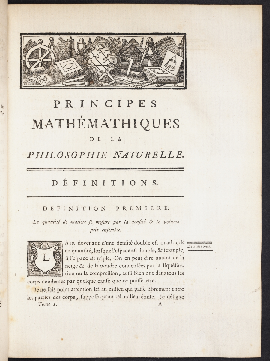 Page 1 of Chatelet's translation of Newton's Principia.