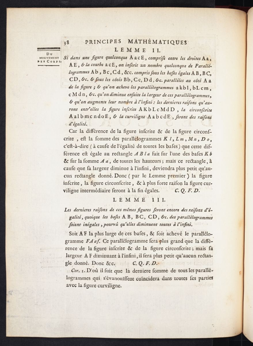 Page 38 of Chatelet's translation of Newton's Principia.