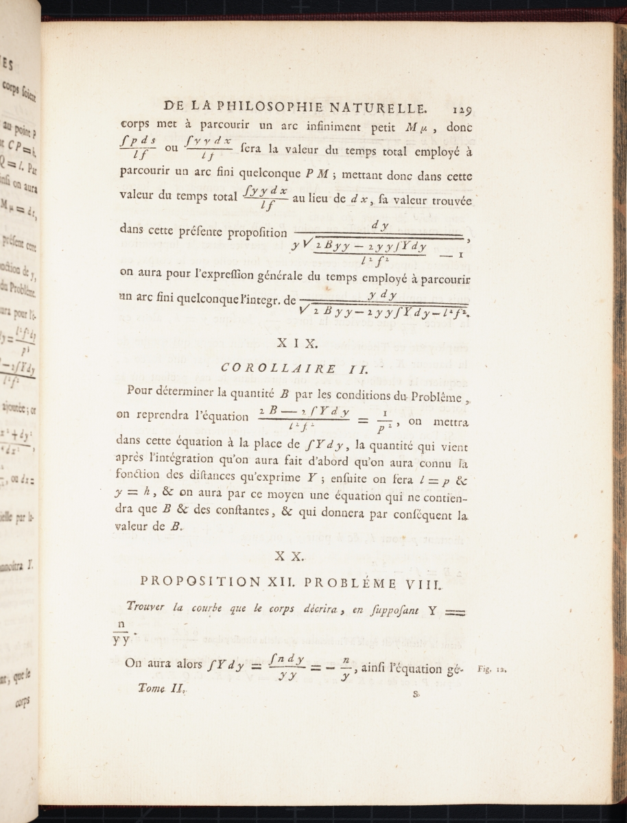 Page 129 (volume 2) of Chatelet's translation of Newton's Principia.