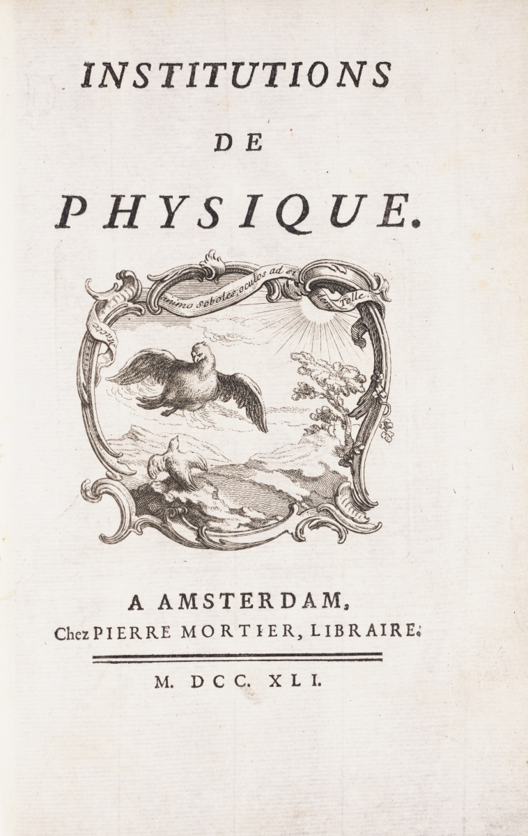 Title page of du Chatelet's Institutions de Physique (1740).