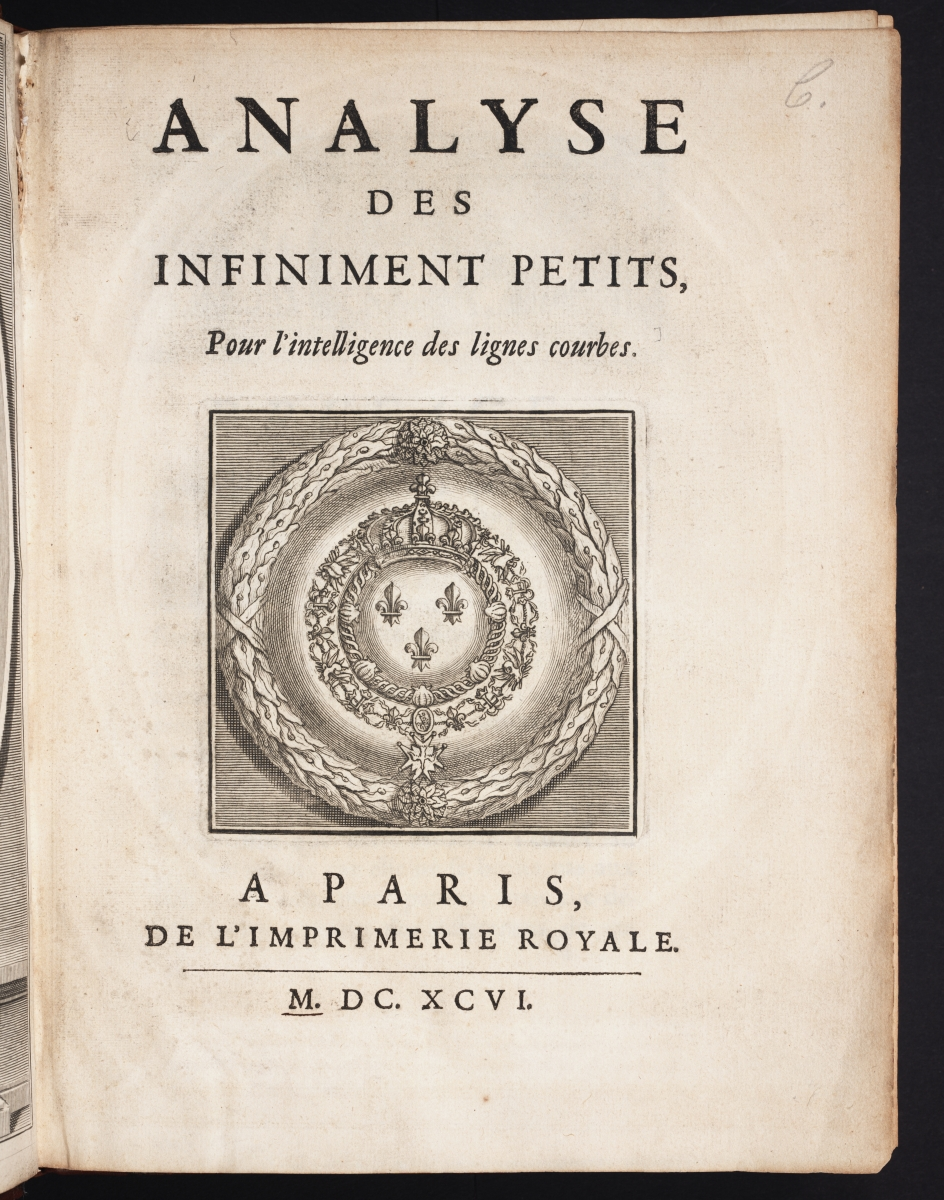 Title page of l'Hospital's 1696 calculus textbook.