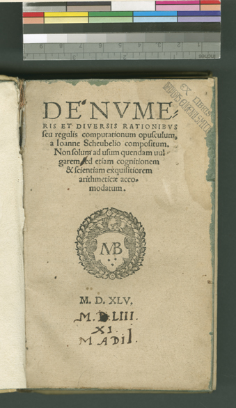 Title page of Scheubel's De Numeris