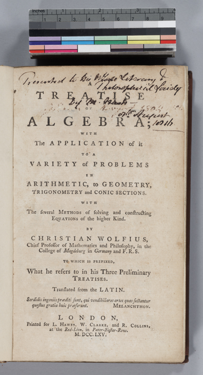 Title page of Wolff's Algebra