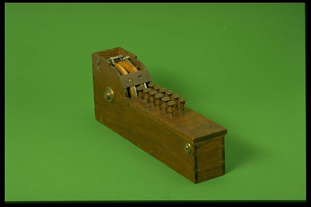 Thomas Hill's patent model for an adding machine.