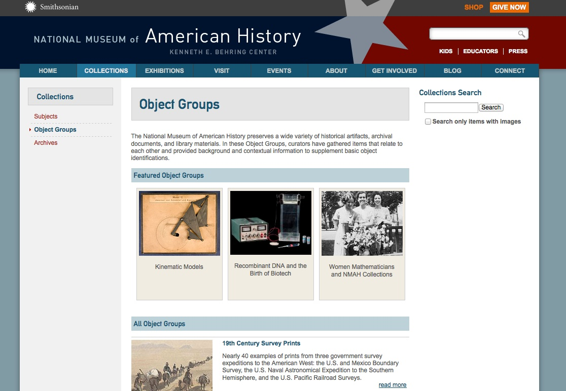 Home page for NMAH object groups.