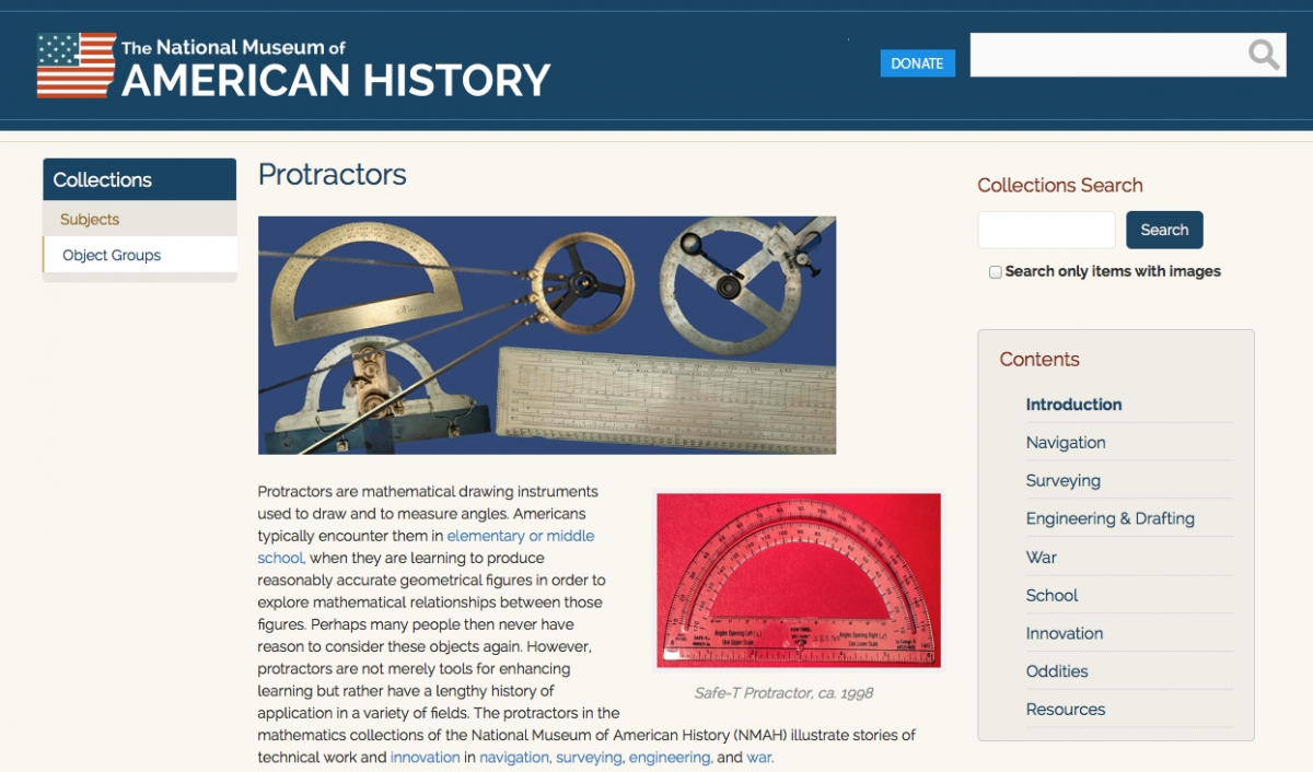 Protractors object group from NMAH website.