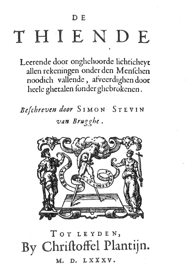 Title page of De Thiende