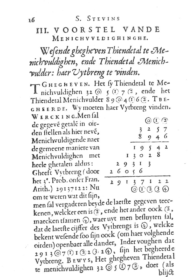 First page of the section on multiplication of decimal fractions from Simon Stevin's 1585 De Thiende
