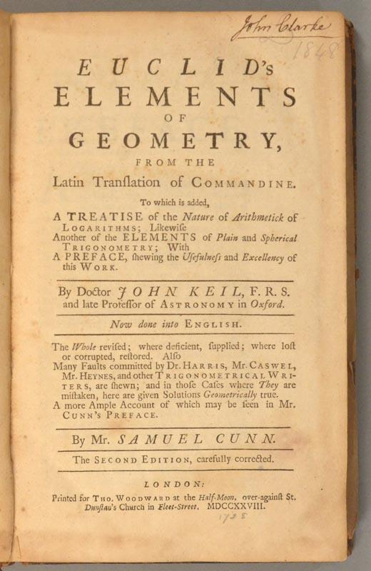 Title page of 1728 second edition of John Keill's Euclid.