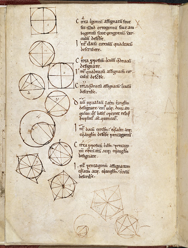 Folio 11v from 12th Century English manuscript of Latin translation of Eucild's Elements by Adelard of Bath