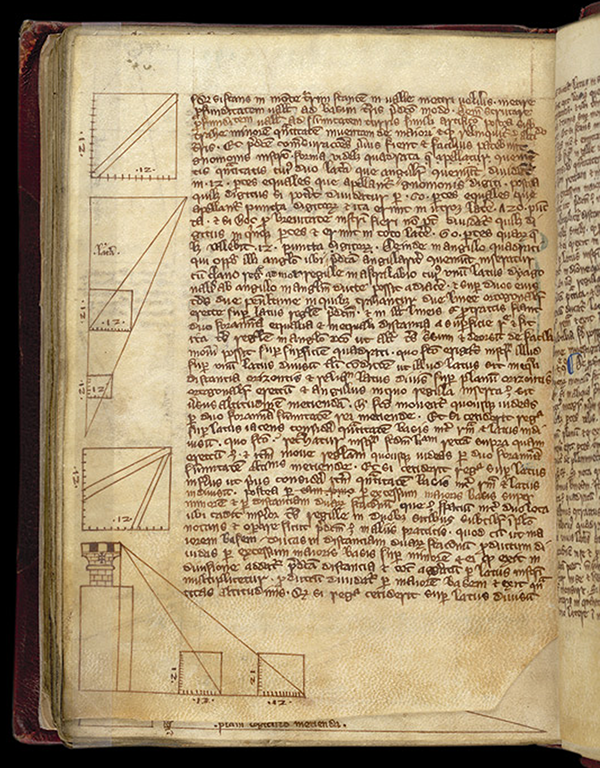 Folio 153v from a 13th century English manuscript containing work based on Gerbert's geometry