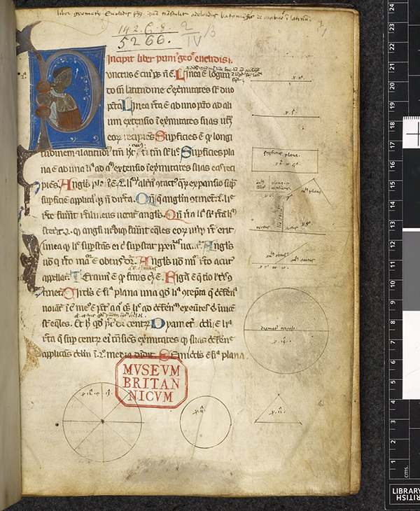 Folio 1r from 14th Century Latin translation of Eucild's Elements by Adelard of Bath