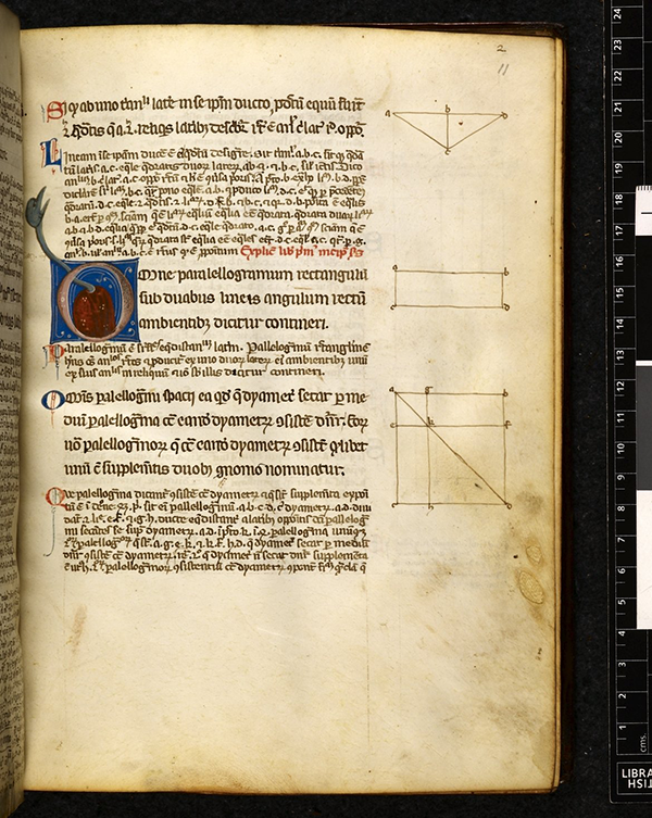 Folio 11r from 14th Century Latin translation of Eucild's Elements by Adelard of Bath