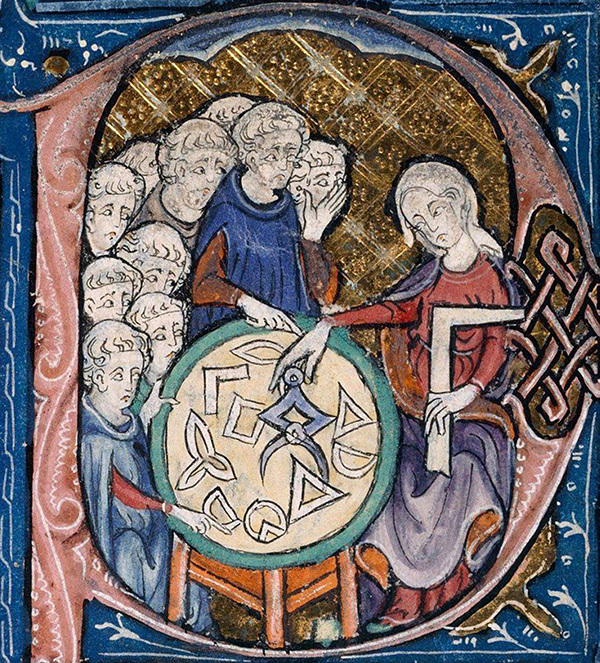 Inset from 14th-century manuscript of Adelard's Elements of Euclid.
