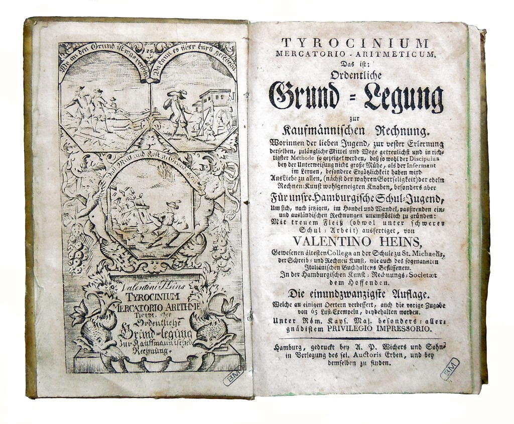 Title page from a 1785 edition of Valentin Heins's Tyrocinium mercatorio-arithmeticum.