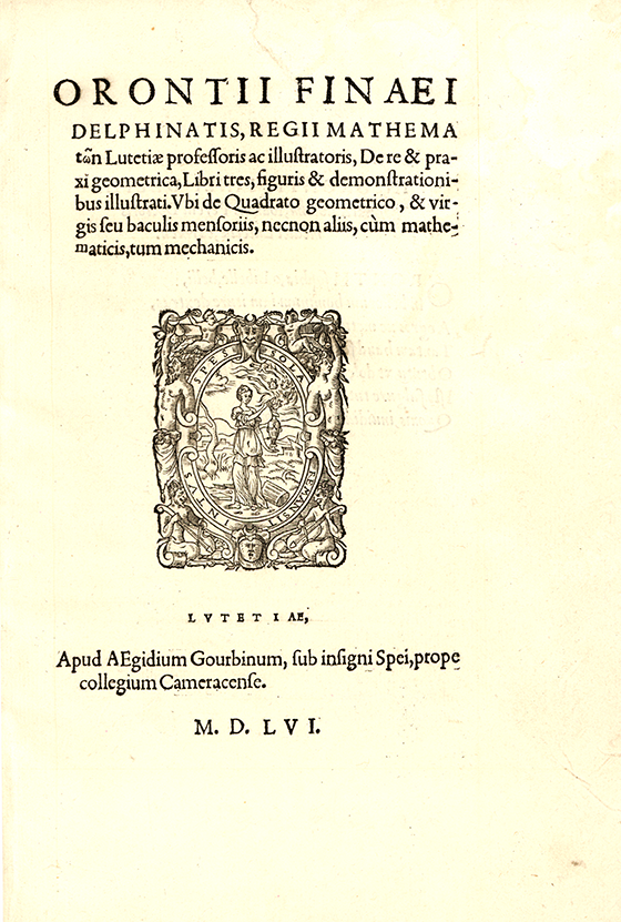 Title page from De re et praxi geometrica by Oronce Fine, 1556