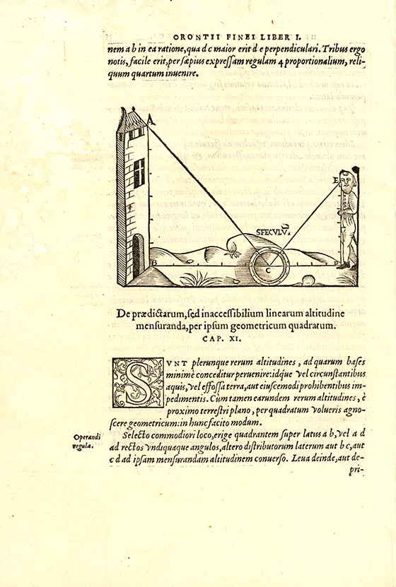 Page showing the measurement of the height of a tower from De re et praxi geometrica by Oronce Fine, 1556
