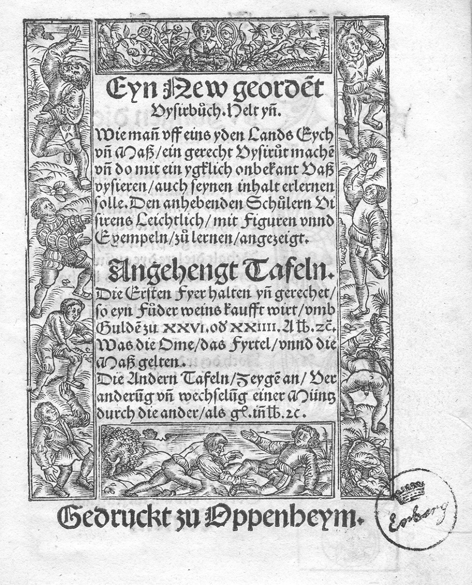 Title page of Eyn new geordnet vysirbuch by Jacob Köbel, 1515