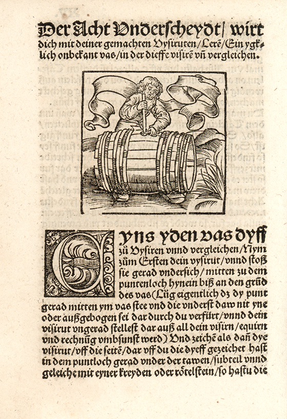First image of barrel measurement from Eyn new geordnet vysirbuch by Jacob Köbel, 1515