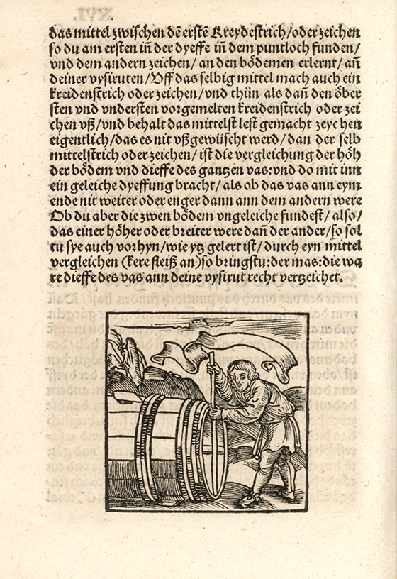 Second image of barrel measurement from Eyn new geordnet vysirbuch by Jacob Köbel, 1515