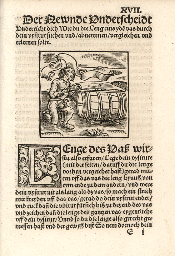 Third image of barrel measurement from Eyn new geordnet vysirbuch by Jacob Köbel, 1515