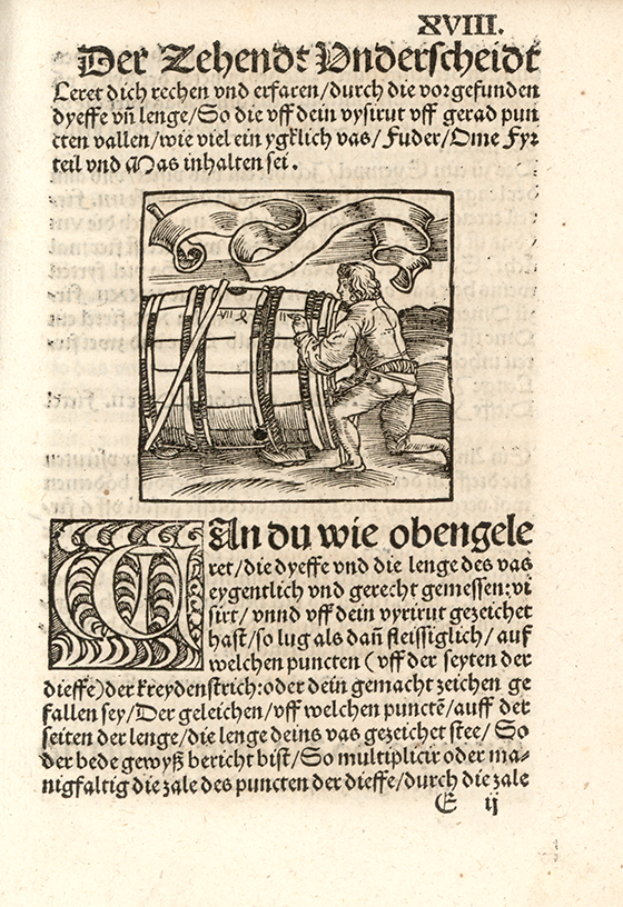 Fourth image of barrel measurement from Eyn new geordnet vysirbuch by Jacob Köbel, 1515
