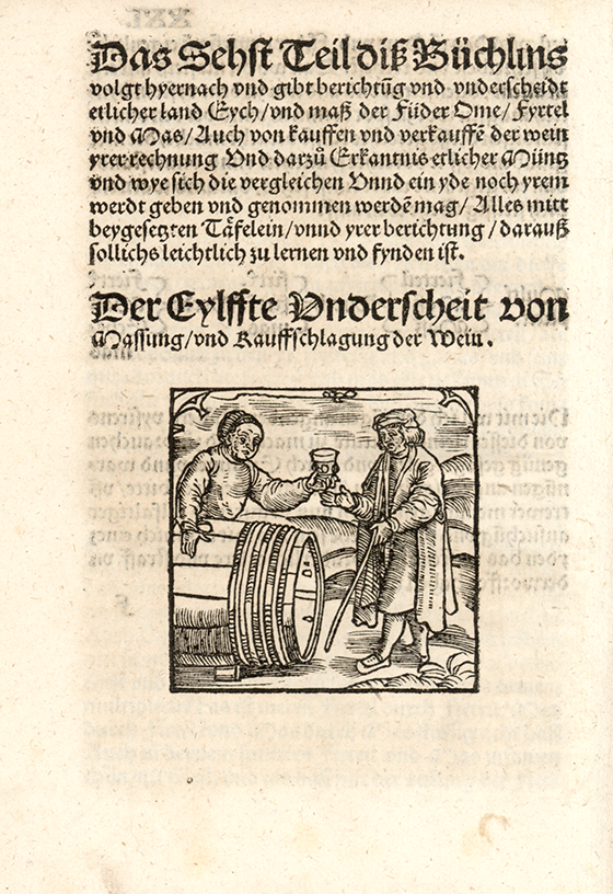 Fifth image of barrel measurement from Eyn new geordnet vysirbuch by Jacob Köbel, 1515