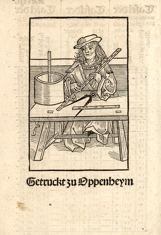 Sixth image of barrel measurement from Eyn new geordnet vysirbuch by Jacob Köbel, 1515