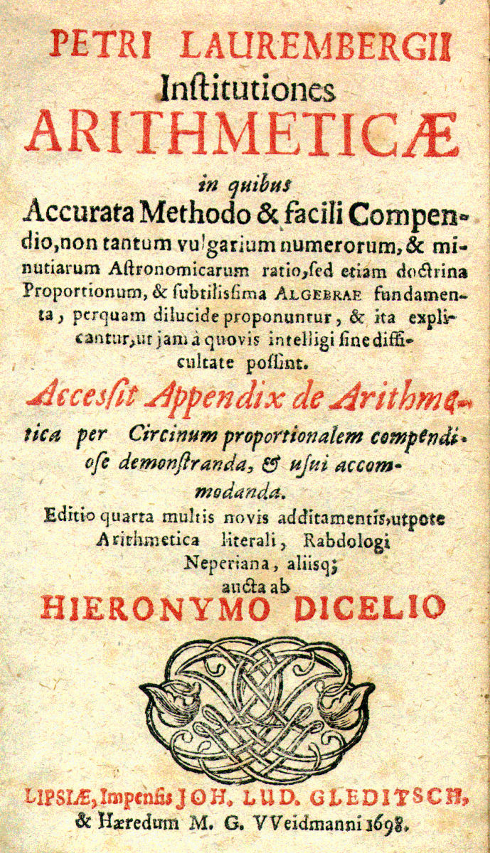 Title page of Institutiones Arithmeticae by Peter Lauremberg, 1698