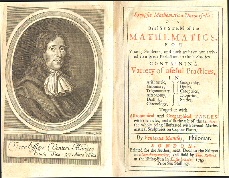 Title page and frontispiece from Synopsis Mathematica Universalis by Venterus Mandey, 1729