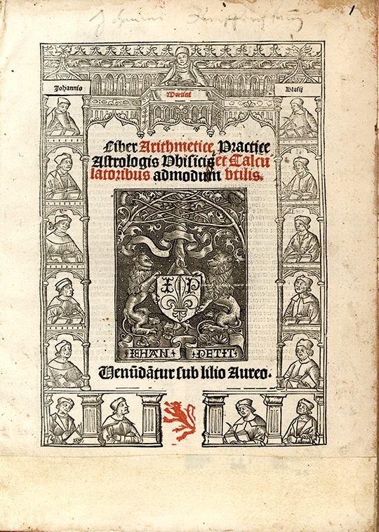Title page of Liber arithmetice practice by Joannes Blasius Martinus Silcaeus, 1513