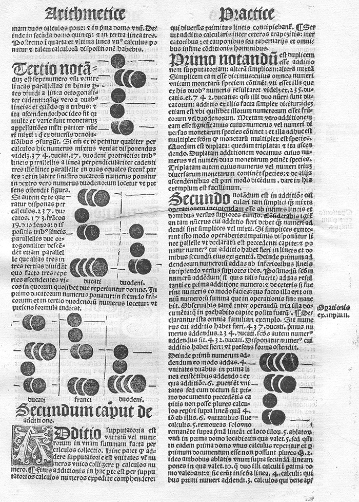Second sample page of abacus instruction from Liber arithmetice practice by Joannes Blasius Martinus Silcaeus, 1513