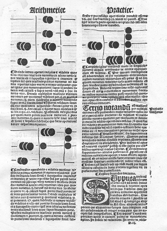 First sample page of abacus instruction from Liber arithmetice practice by Joannes Blasius Martinus Silcaeus, 1513