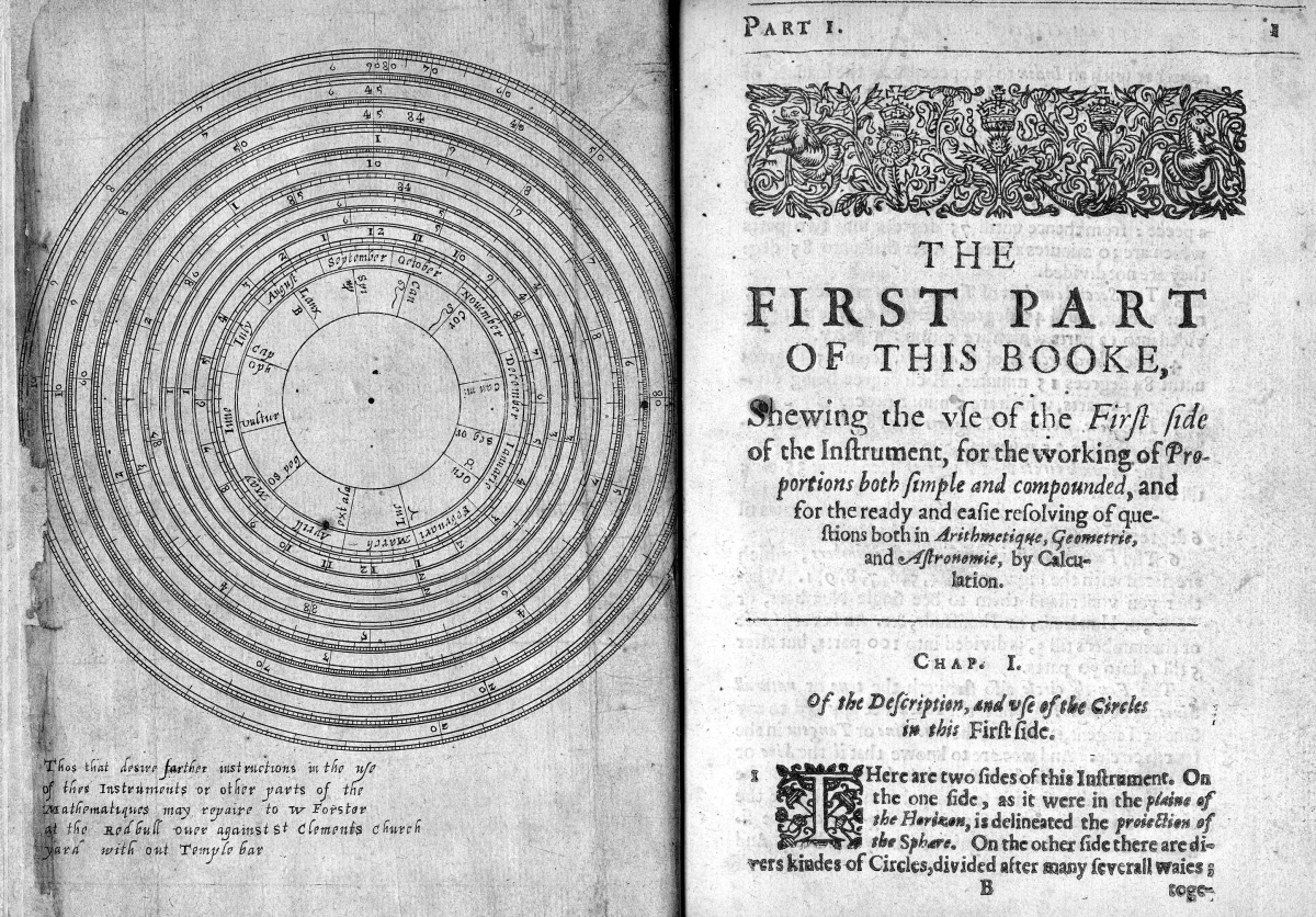 Diagram of circular slide rule and first page from Part I of The Circles of Proportion, 1632