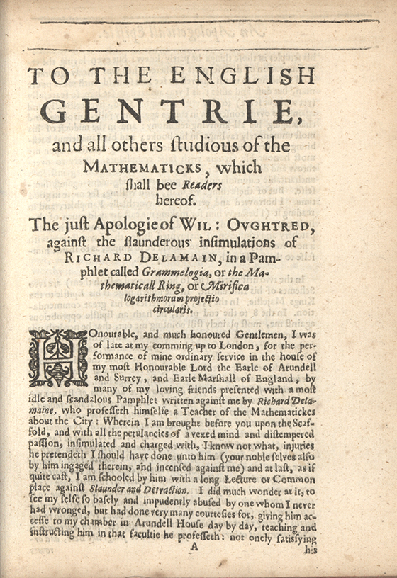 First page from the pamphlet To the English gentrie... by William Oughtred, 1633