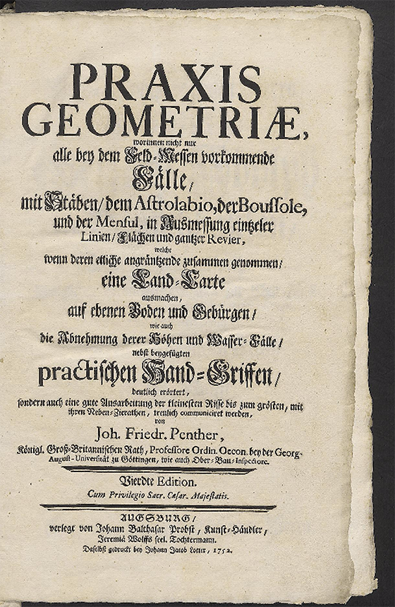 Title page from Praxis geometriae by Johann Fredrick Penther, 1752