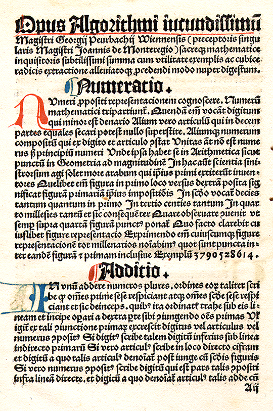 First page of Opus algorithimi by Georg von Peurbach, 1503