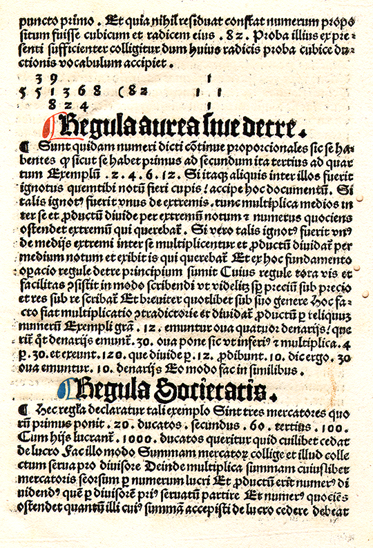 Page on the Golden Rule/Rule of Three from Opus algorithimi by Georg von Peurbach, 1503