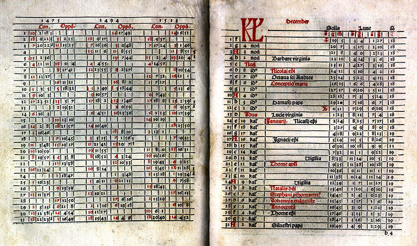 December calendar from Kalendarium by Regiomontanus, 1489