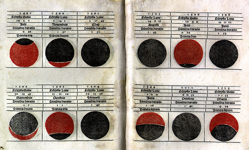 Eclipse examples from Kalendarium by Regiomontanus, 1489