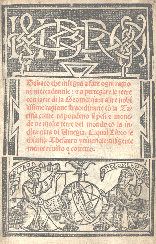 Title page from Libro d'abaco by Giovanni and Girolamo Tagliente, 1535
