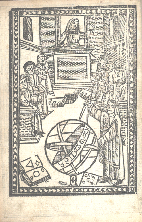 Wood block print showing measurement on sphere from Libro d'abaco by Giovanni and Girolamo Tagliente, 1535