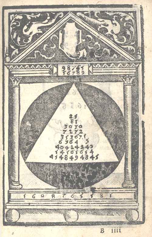 Algorithm showing 98765 multiplied by 56789 from Libro d'abaco by Giovanni and Girolamo Tagliente, 1535