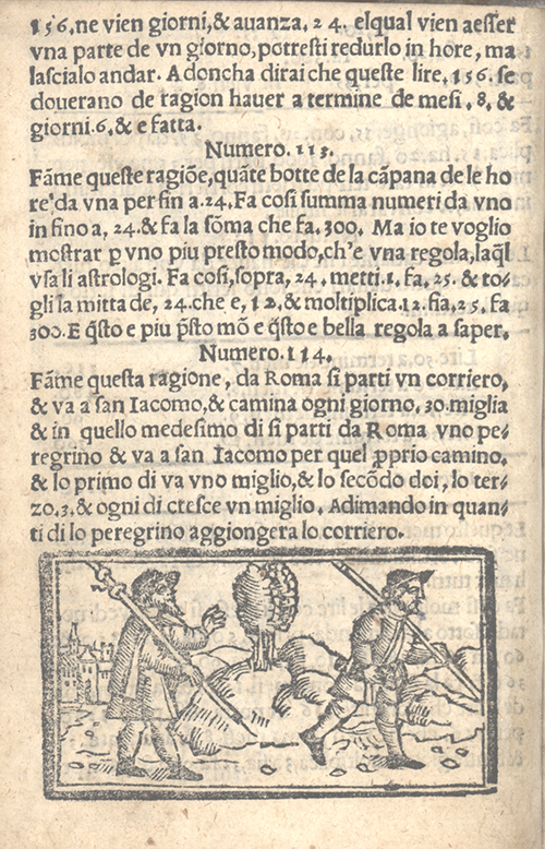 """Two couriers to Rome"" problem and illustration from Libro d'abaco by Giovanni and Girolamo Tagliente, 1535"