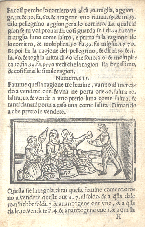 """The market woman"" problem and illustration from Libro d'abaco by Giovanni and Girolamo Tagliente, 1535"