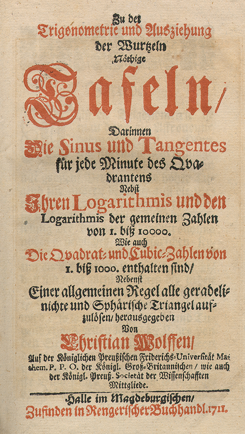 Title page of Trigonometrie by Christian Wolff, 1711